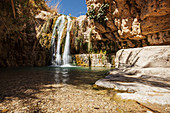 'David and his men stayed in Ein Gedi and certainly enjoyed the fresh water falling from the Desert plateau above. There are several waterfalls of differing sizes that make there way down to the Dead Sea below; Ein Gedi, Israel'