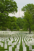 'Rows of grave stones at Arlington National Cemetery, with the Washington Monument across the river in Washington, D.C.; Arlington, Virginia, United States of America'