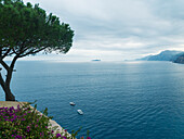 'Tranquil turquoise water of the Mediterranean along the Amalfi coast; Amalfi, Italy'