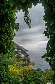 'Lush foliage framing the view of the Amalfi coastline; Positano, Campania, Italy'