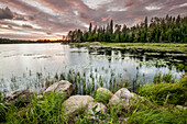 'Sunset over a pond; Thunder Bay, Ontario, Canada'