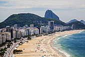 'Copacabana from above looking towards Sugarloaf Mountain; Rio de Janeiro, Brazil'