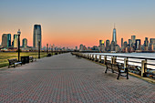 'Jersey City and Manhattan skylines at sunset, Liberty State Park; Jersey City, New Jersey, United States of America'