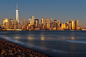 'New York City skyline at sunset, Liberty State Park; Jersey City, New Jersey, United States of America'