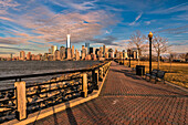 'Manhattan skyline at sunset, Liberty State Park; Jersey City, New Jersey, United States of America'