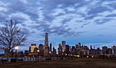 'Manhattan skyline at twilight, Liberty State Park; Jersey City, New York, United States of America'