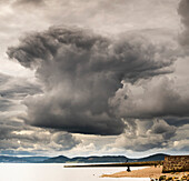 'Dramatic cloud formation over the coastline, Chanonry Point; Inverness, Scotland'