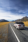 'Driving into Mount Cook National Park; Mount Cook, Canterbury, New Zealand'