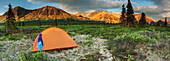 Tent at a wilderness camp site in the Twin Lakes area of Lake Clark National Park & Preserve, Alaska.