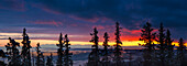 Panoramic view of sunset over the Cook Inlet from the Anchorage hillside, Southcentral Alaska