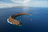 'Aerial view of snorkelling and scuba boats, Molokini Island, between Kihei, Maui, and Kaho'olawe Island, National Hawaiian Humpback Whale Marine Sanctuary; Maui, Hawaii, United States of America'