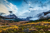 Fall landscape of tundra and willows with snow covered Chugach Mountains and Powerline Pass in Glen Alps area of Anchorage, Chugach State Park, Southcentral Alaska