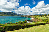 'View with golf course tee box on entrance to Nawiliwili Harbor; Lihue, Kauai, Hawaii, United States of America'
