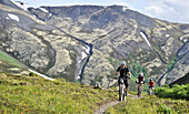 Mountain bikers on the Resurrection Pass Trail in the Chugach National Forest, Kenai Peninsula, Southcentral Alaska