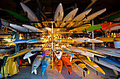 Sea kayaks are stores in the Pavillion at Cottesloe Beach