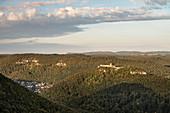 view at fortress Hohenurach from Rutschen rock, Bad Urach, Reutlingen district, Swabian Alb, Baden-Wuerttemberg, Germany