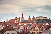 churches and castle of old town of Ellwangen, Ostalb district, Swabian Alb, Baden-Wuerttemberg, Germany