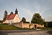 Stephanus church at deserted village Gruorn, former military area, Muensingen, Reutlingen district, Swabian Alb, Baden-Wuerttemberg, Germany