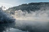 Nebel steigt von der Blau empor, winterliche Stimmung an der Blau, Blautal bei Blaubeuren, Alb-Donau Kreis, Schwäbische Alb, Baden-Württemberg, Deutschland