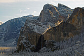 View from Tunnel View at Yosemite Valley and Bridalveil Fall , Snow , Yosemite National Park , Sierra Nevada , California , U.S.A. , America