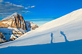 Ski touring in Croda Negra. Passo Falzarego, Veneto, Italy.