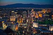 Aerial view of illuminated cityscape, Las Vegas, Nevada, United States