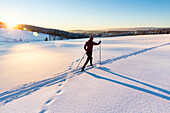Women skiing over a snow covered field at sunset, tracks in the snow, Harz, MR, Sankt Andreasberg, Lower Saxony, Germany