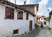 Stone houses and cobbled streets in the old quarter of Korca, South eastern Albania.