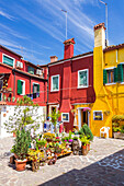 Coloured houses at Calle Daffan, Burano, Veneto, Italy, Europe