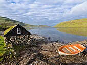 Lake Sorvagsvatn (Leitisvatn), the largest lake of Faroe. The island Vagar, part of the Faroe Islands in the North Atlantic. Europe, Northern Europe, Denmark, Faroe Islands.
