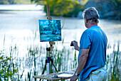 Man, painting, landscape, waterscape