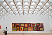 Georgia, Atlanta, High Museum of Art, painting, artwork, ´The Great Pyramid´, Alfred Jensen, contemporary, color, optics, canvas, woman, ceiling, skylight, light-wells, Renzo Piano building addition, design