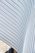elements in detail of the Oculus which is a futuristic train station by famous architect Santiago Calatrava next to WTC Memorial, Manhattan, New York City, USA, United States of America