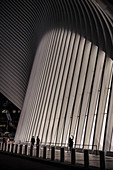 the Oculus, woman taking a photo of the facade at night, futuristic train station by famous architect Santiago Calatrava next to WTC Memorial, Manhattan, New York City, USA, United States of America