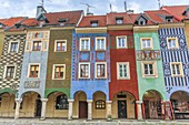 Poland, Poznan City, Stary Rynek, Picturesque houses, Old Town Square.
