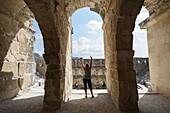 Aspendos amphitheater tunnel. Ancient Greece. Asia Minor. Turkey.