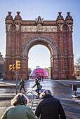 Arc de Triomf, triumphal arch,in Passeig Lluis Companys, Barcelona, Catalonia, Spain.