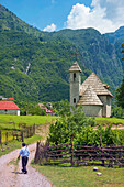 The village of Theth, with its shingle roofed church, Northern Albania.