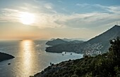 Sunset over Dubrovnik city, Croatia. Aerial view with Lokrum Island on the left side.