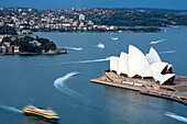 Australia, New South Wales, Sydney, Sydney Opera House by architect Jørn Utzon, listed as World Heritage by UNESCO, seen from the Blu Horizon bar in the Shangri-La Hotel