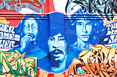 United States, California, San Francisco, Haight Ashbury District what attracted the Beat generation of the 1950s and Flower Power hippies, mural painting, John Lennon, Jimi Hendrix and Jim Morrison
