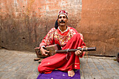 Morocco, Haut Atlas, Marrakesh, Imperial city, Medina listed as World Heritage by UNESCO, gnaoua musician in the Mellah district