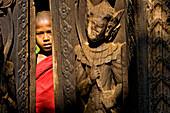 Myanmar (Burma), Mandalay Division, Ava, Bagaya Kyaung monastery built entirely in teak in 1834, the monk Ashin Nanda Thira aged 10