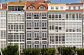 Spain, Galicia, La Coruna, facade of buildings with galleries in Avenida da Marina