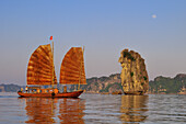 Vietnam, Along Bay, listed as World Heritage by UNESCO, junk