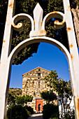 France, Haute Corse, Balagne Region, Aregno, the village cemetary, eglise de la Trinite (Trinity Church), a masterpiece of the Roman Pisan architecture style built in the 12th century