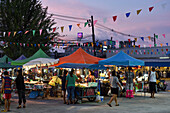 food market in Phuket in the evening, Thailand