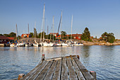 Harbour in Berg on the island of Moeja in Stockholm archipelago, Uppland, Stockholms land, South Sweden, Sweden, Scandinavia, Northern Europe