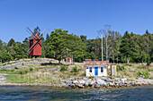 Red windmill on the isle Lidoe, Northern Stockholm archipelago, Stockholms County, Uppland, Scandinavia, South Sweden, Sweden,  Northern Europe