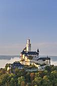 Marksburg castle above Braubach and the Rhine, Upper Middle Rhine Valley, Rheinland-Palatinate, Germany, Europe